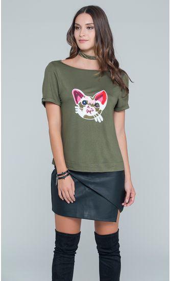 T-Shirt-Malha-Decote-Canoa-Patch-Gatinho