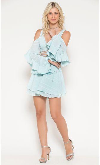 Vestido-Curto-tecido-Tule-Manga-Babado