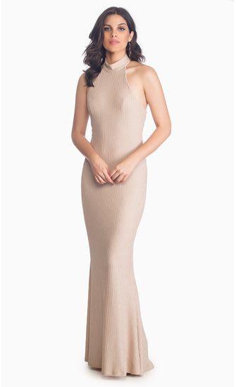 Vestido-Longo-Decote-Alto-Metalic-