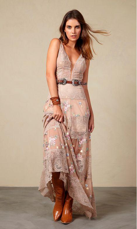 8726d4e55 Vestido Longo Renda Bordado Flores - Agatha e-Store - Ágatha e-Store