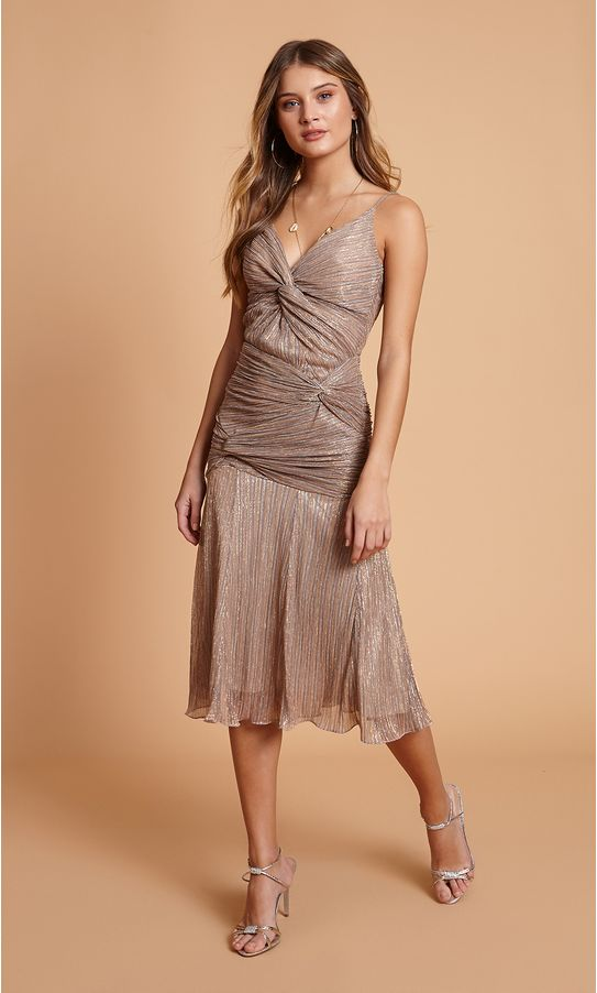 Vestido-Midi-Lurex-Plissado