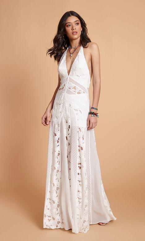 Vestido Longo Mix Tecidos Agatha E Store ágatha E Store